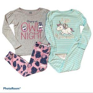 4/$20 Girls owl & unicorn pyjamas bundle of 2